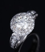 A classic diamond rosette ring, 14 kt. white gold, total approx. 2.11 ct