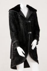Short coat, Persian Swakara with velvet mink collar, size 38