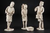 Kinesiske figurer af udskåret ben, 1800-tallet (3)