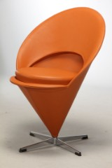 Verner Panton. Stol, model Cone Chair i læder