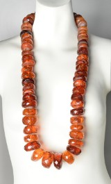 Large antique amber necklace, bridal piece, approx. 590 g