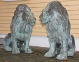 A pair of large bronze lions (2)