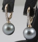 Earrings in 9k set with Tahiti pearls and diamonds 0.09 ct
