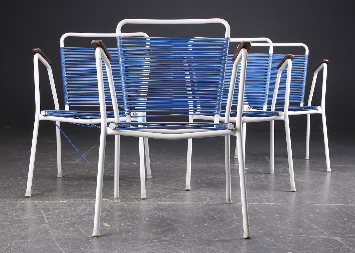 4 havestole med blå spagetti snøre (4) |