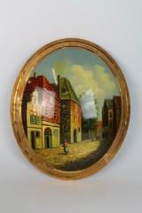 Ovales Ölgemälde auf Holz, Stadtzene