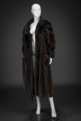 Mink coat, glossy dark-brown, size 42