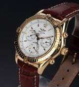 Breitling 'Chrono Cockpit'. Men's watch, 18 kt. gold with white dial, 1990s