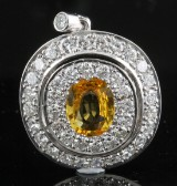 Diamond and yellow sapphire pendant, 18kt. gold, approx. 1.60ct.