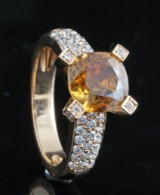 18kt. diamond and cubic orange zirconia ring approx. 0.70ct