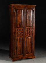 Wardrobe with double doors, wood and metal fittings