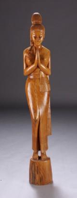 Orientalsk Buddha figur, massivt teaktræ