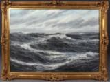 Lothar Schlüter, marinemaleri i stormvejr med måger, oliemaleri