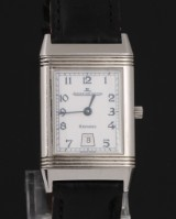 Jaeger LeCoultre 'Reverso'. Men's watch, steel, with date and reversible case