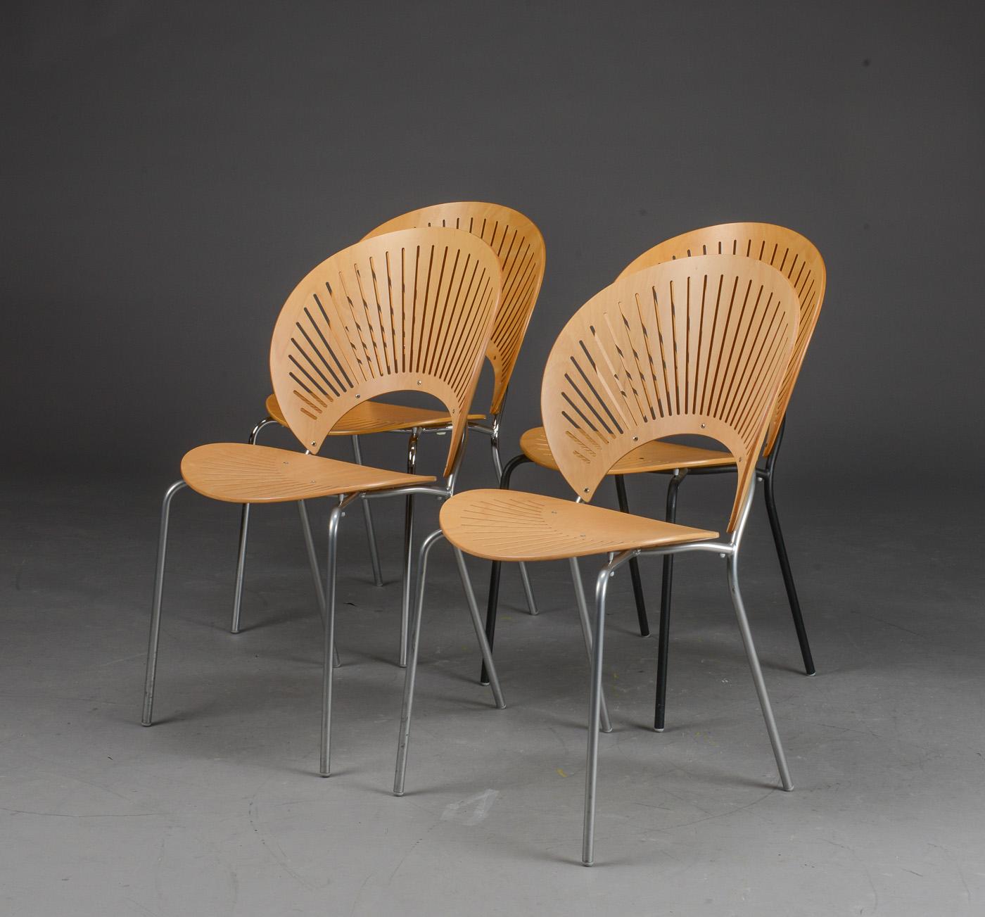 Nanna Ditzel. Fire 'Trinidad' stole, bøg, model 3298. (4