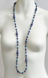 Kette aus Achat, Aquamarin, Lapis Lazuli und Silber