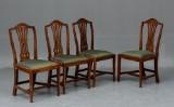 Fire engelske mahognistole ca.1780-1800 (4)