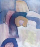 Helga Radener-Blaschke, olie på lærred, 'Abstrakte Formen Grau-Blau'