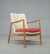 Finn Juhl. Lounge chair/fireplace chair in teak and wool, Model BO-59