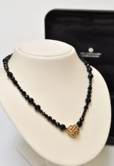 Charlotte Lynggaard for Ole Lynggaard. Woven Heart clasp, 14 kt. gold with diamonds and onyx necklace