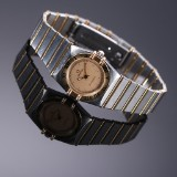 Omega 'Constellation' ladies' watch, 18 kt. gold and steel, pale dial, c. 1993