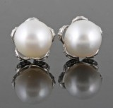 South sea pearls and diamond earrings approx.0.50ct