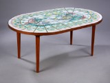 Bjørn Wiinblad. Oval coffee table with decorated tiles, 1974