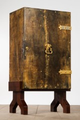 Aldo Tura, cabinet / bar cabinet, wood, goat leather, brass, glass, Italy, 1950s