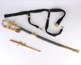 Dansk Marineofficerssabel Model 1849 med skede og bælte samt marine dagget