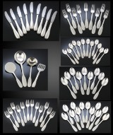 Evald Nielsen. 'Cutlery No. 14', cutlery and serving pieces in hammered sterling silver (67)