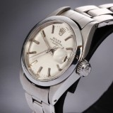 Rolex Date. Vintage ladies watch, steel with silver-coloured dial and date, c. 1974
