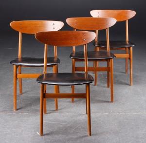 farstrup stole Farstrup Møbler. Fire stole, teak, bøg og skai, 1960'erne. (4  farstrup stole