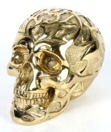 Robbi Jones: 'Skull XXL' /kranium i poleret messing.