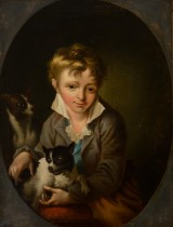 Hans Hansen after C.A.Lorentzen. Portrait of a boy with two dogs, oil on relined canvas