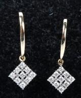 Diamant ørelokker, 14 kt. rhodineret guld, 0.25 ct. Et par (2)