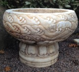 Urn / planter on foot, marble, China