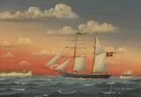 A. Mortensen. Skibsportræt af topsejlsskonnert Ørnen af Assens
