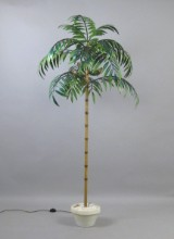 Large standard lamp in the shape of a palm, polychromatic paint