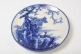 Japansk fad blåmalet under glasuren Ø:39,5cm 1800/1900 tallet. (1)