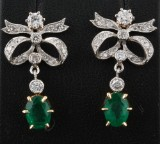 18K Emerald and Diamond Earrings approx. 0.60ct (2)