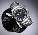 Omega 'Seamaster Planet Ocean'. Herrenchronograph aus Stahl mit schwarzem Zifferblatt, ca. 2006