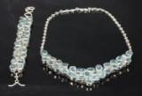 Blå topas smykkesæt: Halscollier og armbånd (2)
