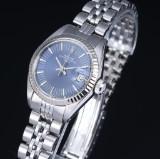 Rolex 'Date'. Dameur i stål med blå skive med dato, ca. 1973