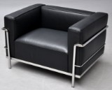Le Corbusier. LC3 lounge chair, black leather