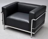 Le Corbusier. LC3 lounge chair, black leather