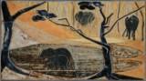 Ubekendt kunstner. Relief af stentøj dekoreret med elefanter.