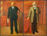 Pair of paintings: Igor Ivanovich Sinepolski, Marx and Lenin (2)