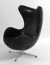 Arne Jacobsen, lounge chair, The Egg, black original leather, 1968
