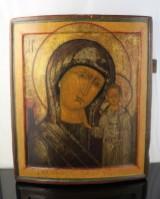 Russisk ikon, æggetempera på træ, 'Gudsmoderen fra Kasan', 1600-tallet