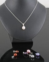 Cultured fresh water multicolour pearl pendant with necklace  (7).