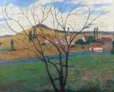 Julius Bretz, oil painting' 'Hügellandschaft mit Dorf'